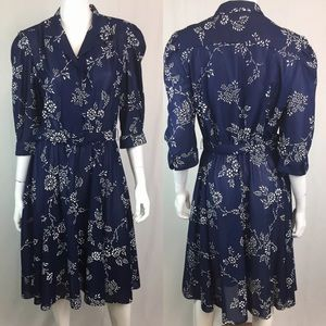 Vintage 60's 70's Floral Flare Belted Shirt Dress